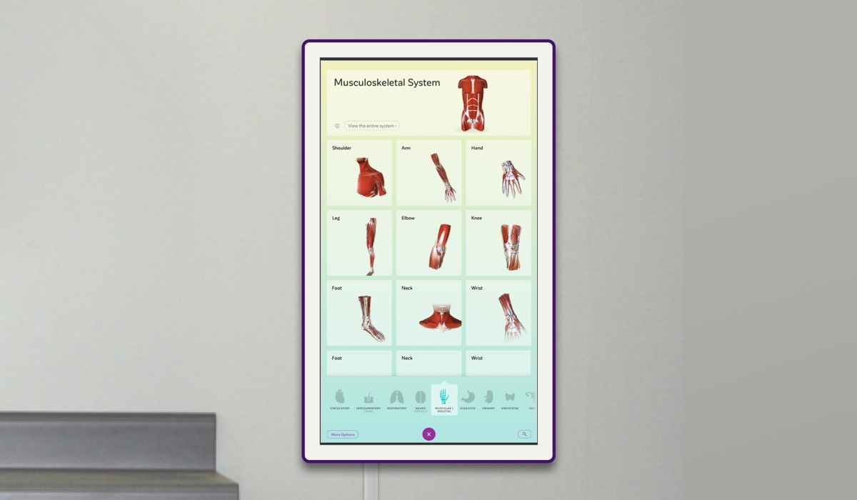 The Wallboard in a clinical setting. The navigation screen offers rapid access to model content.